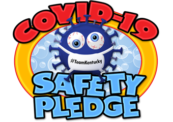 Logo for COVID-19 from Kentucky Center for School Safety showing an illustration of the virus.